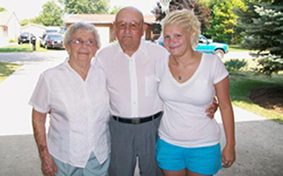Grandma Nelva, Grandpa John and their great-grand daughter Samantha Sparks