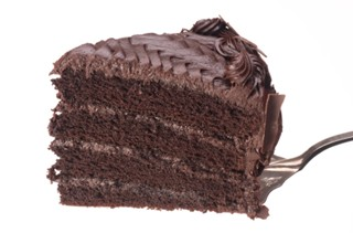 Slice of chocolate cake on a fork